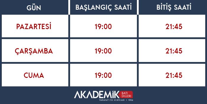 Türkçe-İngilizce Kursu Grup 1 Zaman Çizgelgesi