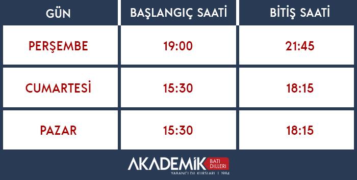 Türkçe-İngilizce Kursu Grup 2 Zaman Çizgelgesi